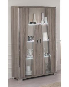 Glamour Walnut High Gloss Two Door Display Cabinet