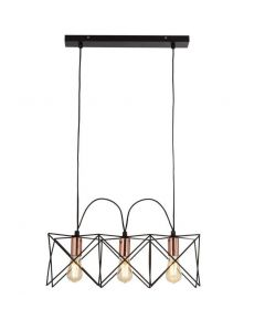 Anthea 3lt Black Frame Pendant With Copper Detail
