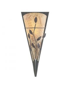 Bronze Leaf Design Wall Light With Textured Amber & Frosted Glass