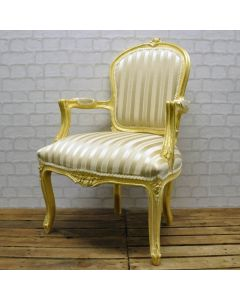 Antique Gold Cream Stripe Louis Xv Arm Chair