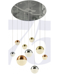 Planets 9lt Pendant - Chrome Finish With Copper, Chrome, Satin Brass Caps & Crys