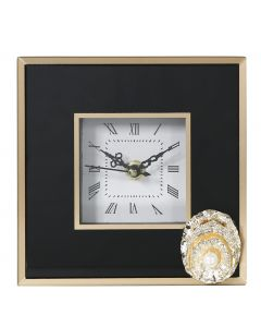 Black and Gold Isla Table Clock with Brooch Decoration