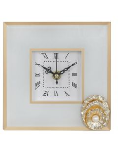 White and Gold Isla Table Clock with Brooch Decoration