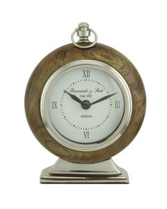 Wood & Nickel Rounded Table Clock