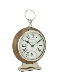 Large Wood & Nickel Rounded Table Clock