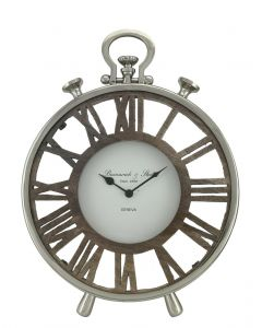 Nickel And Wood Round Table Clock