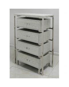 Antique Silver 4 Drawer Faux Snake Leather Cabinet
