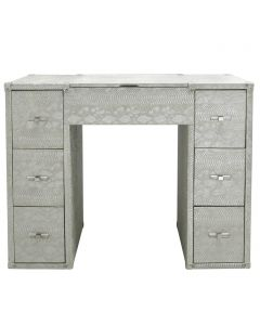 Antique Silver 7 Drawer Faux Snake Leather Dressing Table