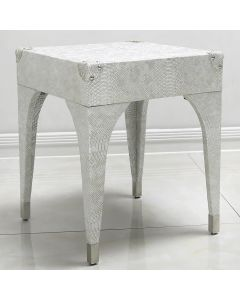 Antique Silver Faux Snakeskin Leather Stool