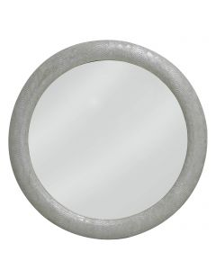 Antique Silver Faux Snakeskin Round Wall Mirror