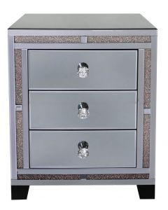 Smoked Copper Milano Mirror 3 Drawer Bedside Cabinet