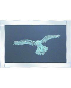Snowy Owl on Mirrored Frame