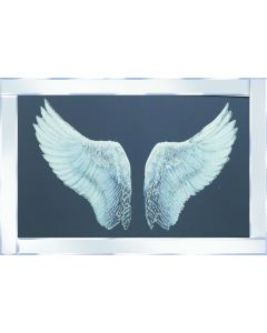 Silver Glitter Wing on Mirrored Frame