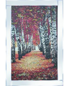 Autumn Birch on Mirrored Frame