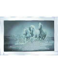 3 Galloping Horses on Mirrored Frame