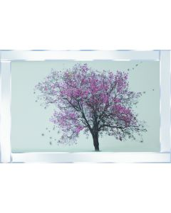 Pink Tree on Mirrored Frame