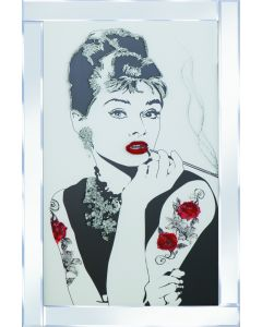 Audrey with tattoo on Mirrored Frame