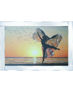 Dancing Lady on Mirrored Frame