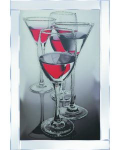 Red Cocktail Glasses on Mirrored Frame