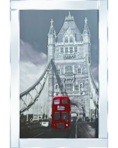 London Bridge with Bus on Mirrored Frame