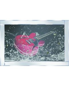 Red Guitar on Mirrored Frame