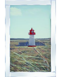 Red & White Lighthouse Portrait on Mirrored Frame