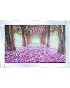 Pink Flower bed with Trees