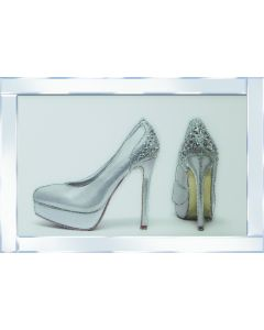 2 Silver shoes on Mirrored Frame