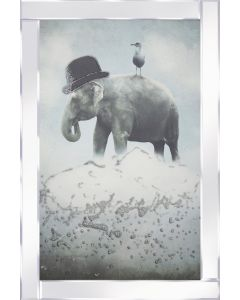 Quirky Elephant with gull on cloud Mirrored Frame