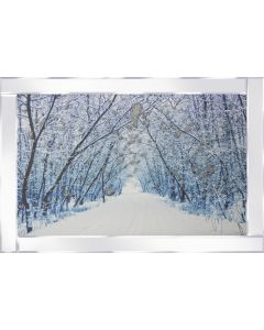 Snowy Avenue on Mirrored Frame