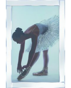 Silver Glitter Ballerina on Mirrored Frame