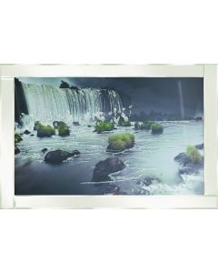 Water fall and Rocks on White Frame
