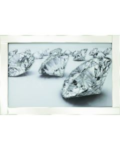 Scattered Diamonds on White Frame