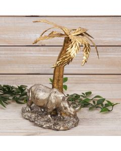 RHINO UNDER A PALM TREE FIGURINE