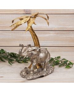 ELEPHANT UNDER A PALM TREE FIGURINE
