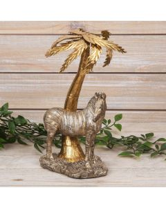 ZEBRA UNDER A PALM TREE FIGURINE