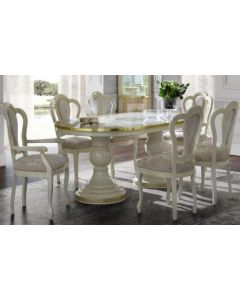 Aida Oval Dining Table Cream & Gold