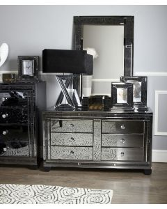 Smoked Milano Mirror 6 Drawer Cabinet
