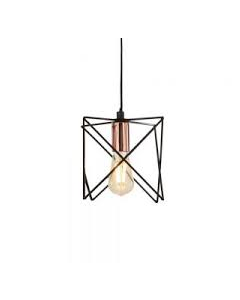Anthea 1lt Black Frame Pendant With Copper Detail